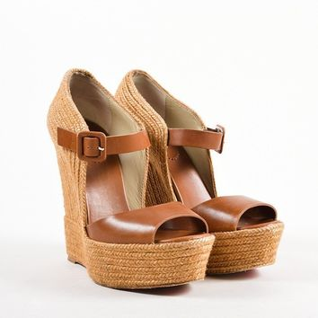 MDIGU2C Brown Leather Praia Platform Espadrille Wedges