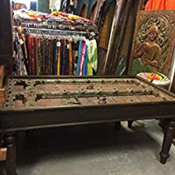 Antique Old Haveli Door Dining Table Carved OFFICE Tables FARMHOUSE Rustic Furniture Bohemian Interior