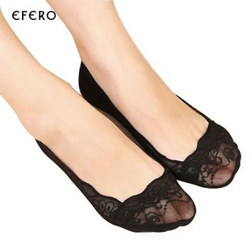 3Pair Lace Slippers Boat Sokcs Woman Invisible Slippers Shallow Socks Low Cut Invisible Socks No Show Sock Thin Summer Style