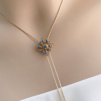 Cowgirl Wedding/Bridal Jewelry Sets/Front Backdrop Necklace/Earrings Set/Crystal Jewelry/Teal Y Necklace