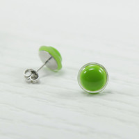 Green Small Stud Earrings 10mm - Round Post Earrings - Little Green Studs - Surgical Stainless Steel - Bridesmaid Gifts - Little Earrings