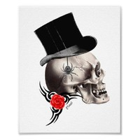 Gothic skull and rose tattoo poster from Zazzle.com