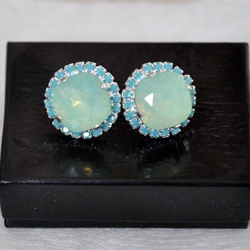 Mint Opal earrings, Silver Mint Studs, Swarovski Mint Earrings, Bridal Mint Earrings,Bridesmaids Earrings, Mint Turquoise, Studs