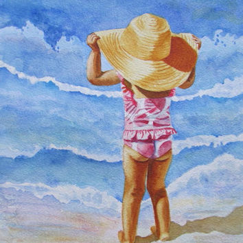 Beach Girl Painting,Beach Girl Print,Polka Dot Sun Hat Art Print, Child Seashore Watercolor Art, Nursery Home Decor Gift, Barbara Rosenzweig