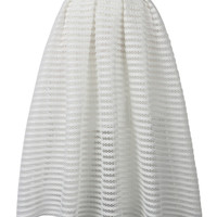 White Mesh Stripe Midi Skirt