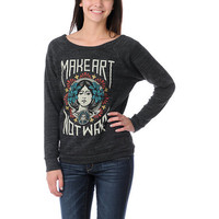 Obey Girls Make Art Not War Vandal Crew Neck Sweatshirt