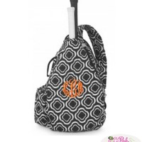 Monogrammed Quilted Black and White Tennis Backpack Bag at The Pink Monogram