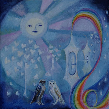 Moon Painting, owl art, rainbow painting, original oil on canvas painting, fantasy owl and moon oil painting on canvas by Romany Steele