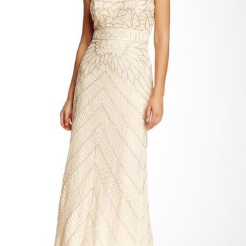 Sue Wong Illusion High Neck Beaded Chevron Gown