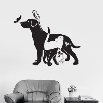 Vinyl Wall Decal Dog Cat Bird Rabbit Animal Veterinarian Stickers Unique Gift (ig3143)