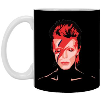 David Bowie Aladdin Sane Mens Navy Heather T-shirt (5)-01 XP8434 11 oz. White Mug