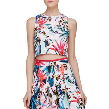 Nicole Miller Womens Floral Print Sleeves Crop Top