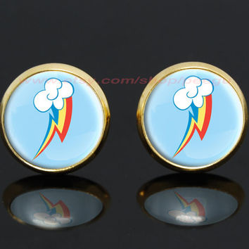 My little pony rainbow dash pegasus cutie mark mlp gold plated stud post earrings,girlfriend gift Bridesmaid Gift