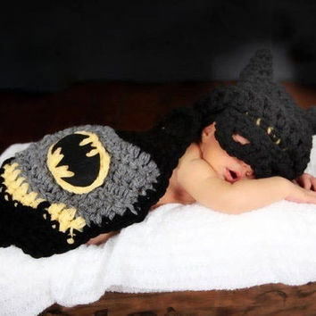 Baby Newborn Crochet Batman Clothes Photo Prop Outfits Cartoon Knitted Toddler Costume = 1927898884