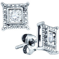 Diamond Fashion Earrings in White Gold-plated silver 0.05 ctw