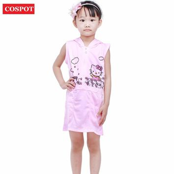 COSPOT Baby Girls Hello Kitty Dress Pink Hooded Summer Princess Dresses for Girl Baby Girl Clothes Vestidos 2-8Yrs 2018 New 32