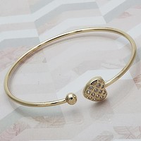 Gold Layered Women Heart Individual Bangle, with White Cubic Zirconia, One size fits all by Folks Jewelry
