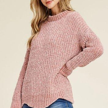 Scallop Hem Sweater - Mauve
