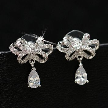 LMFON Korean Butterfly Water Droplets Diamonds Silver Earrings [10427403220]
