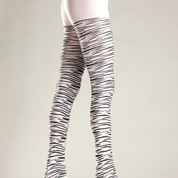 Be Wicked Opaque Zebra Print Pantyhose