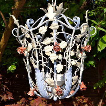 NOT FOR SALE (sold) French tole Flower Chandelier around 1950