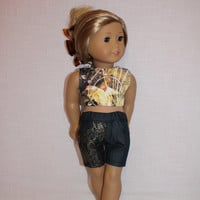 18 inch doll clothes, abstract graphic print crop top, denim shorts with front lace overlay, american girl ,maplelea