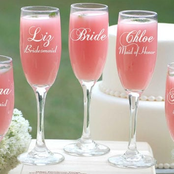8 Personalized Wedding Gift Ideas, Bridesmaid Champagne Glasses, Toasting Glasses, Infinity Champagne Flutes, Engraved Bridesmaid Gifts