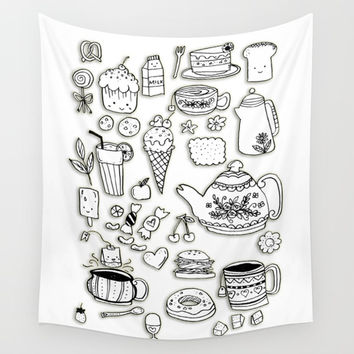 Forever Tea Time 2 Wall Tapestry by Shashira Handmaker