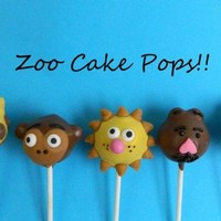 12 Zoo Cake Pops Monkey Giraffe Lion Bear Zebra Favors Baby Shower