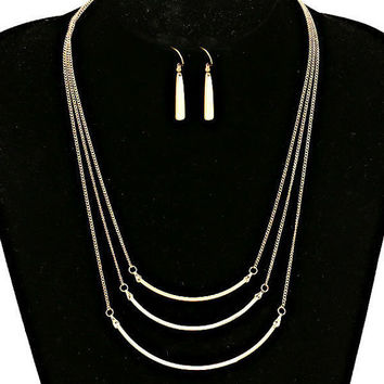 Gold Triple Three Row Tanner Bar Necklace & Earring Set