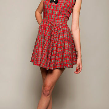 Red Plaid Dress,Tartan Dress, Fit and Flare Dress,1950's Style Dress, Christmas Party Dress, Tartan Skater Dress Size: UK 6 -16/US 2 - 12