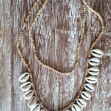 Tan Beaded Tassel Necklace with Cowry Shells - Ladies Statement Jewelry, Shell Necklace