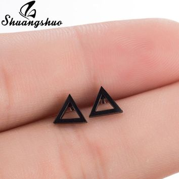 Shuangshuo New Punk Stainless Steel Earrings Female Black Hollow Triangle Stud Earrings For Women Geometric Earrings oorbellen