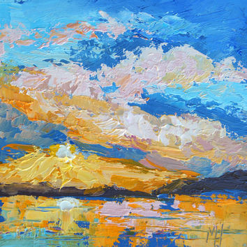 "Impressionist Landscape Painting - Sunset 2 by Marion Hedger, Sunset Sunrise Painting, palette knife oil painting 4x4 "" miniature painting"