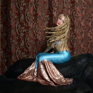Mermaid Tail Skirt Halloween Costume - Designer Aqua, Silver, and Bronze Spandex Floor Length Fish Scale Skirt with Bronze Sequins Godets