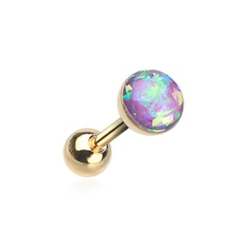Golden Purple Opal Sparkle Cartilage Tragus Helix Earring 16ga Surgical Steel