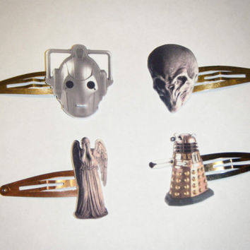 Doctor Who Monsters hairclip set by MinorBubbles on Etsy