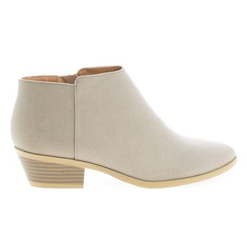 Mug Gray By Soda, Women's Western Ankle Bootie w Low Chunky Block Stacked Heel