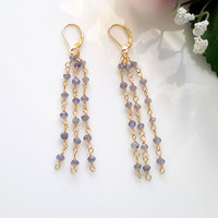 Iolite Chain Dangle Earrings With Gold Filled Leverbacks