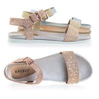 Mission13 Flat form Sandal On Flexible Rubber Footbed Contoured Outsole
