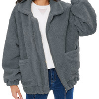 Winter Womens Thickened Flocky Zipper Coat With Pockets