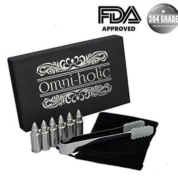 Whiskey Bullet Chillers - Birthday Gifts For Men Set 6 Stainless Steel Bullet Shaped Alcohol Wine Stone Chiller Groomsmen With Tongs and Storage Bag Set by Omni-holic est 2017