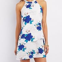 LAYERED FLORAL PRINT SHIFT DRESS