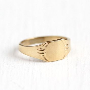 Antique Signet Ring - Art Deco 10k Rosy Yellow Gold Baby Band - Vintage Art Deco 1920s Size 1/3 Blank Fine Children's Midi Jewelry