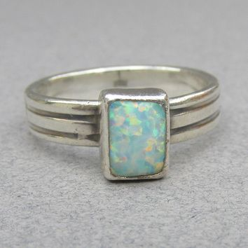 Vintage 1970's Modernist Sterling Silver Square OPAL Ring, Size 9