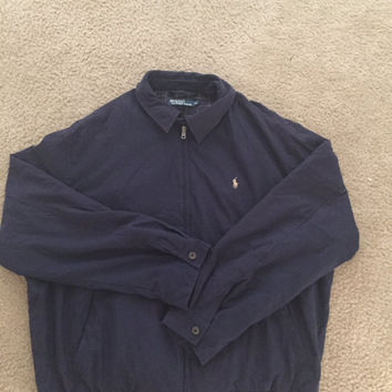 Vtg Vintage Polo Ralph Lauren Jacket Windbraker Color Navy Blue With Color Cream Pony Rare 90s Classic