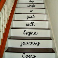 Every Journey Stairs Version 2 Quote Decal Sticker Wall Vinyl Art Home Family