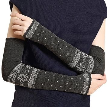 Dahlia Women's Super Stretchy Wool Arm Warmer - Snowflake with Dot - Gray