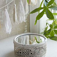 Moroccan Metal Mirror Box- White One