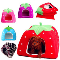 New Soft Strawberry Pet Dog Cat Rabbit Bed House Kennel Doggy Warm Cushion Basket Color S~L, 5 Colors New Leopard # laixudong #